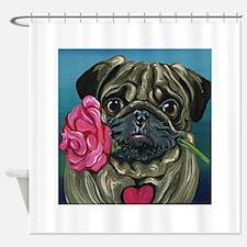 Pug Valentine Shower Curtain