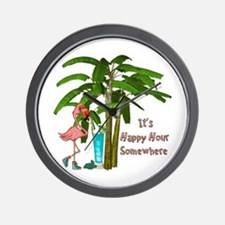 It's Happy Hour Somewhere Wall Clock