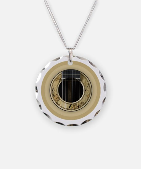 Guitar Round Necklace Circle Charm