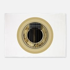 Guitar Round 5'x7'Area Rug
