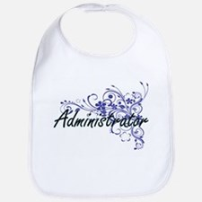 Administrator Artistic Job Design with Flowers Bib