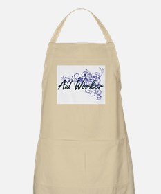 Aid Worker Artistic Job Design with Flowers Apron