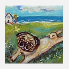 Cute Pug art Tile Coaster