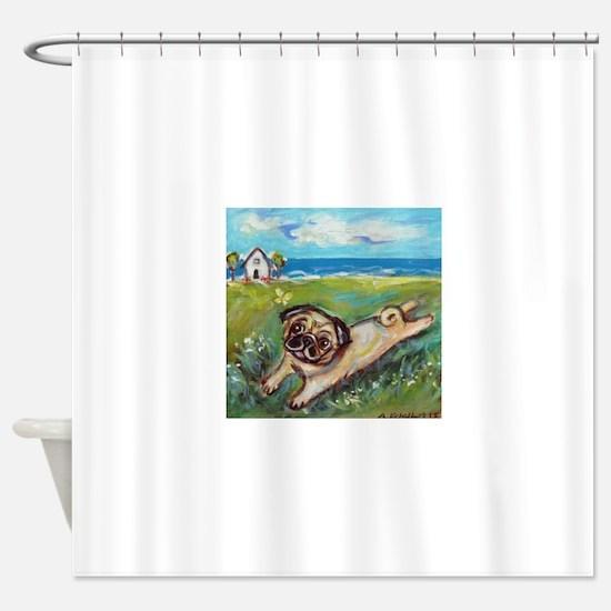 Cute Pug art Shower Curtain