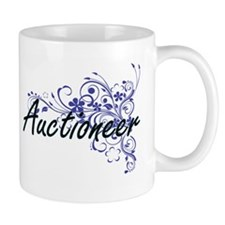 Auctioneer Artistic Job Design with Flowers Mugs