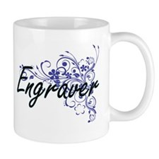 Engraver Artistic Job Design with Flowers Mugs