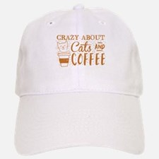 Crazy about cats and coffee Baseball Baseball Cap
