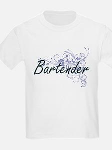 Bartender Artistic Job Design with Flowers T-Shirt