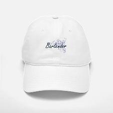 Bartender Artistic Job Design with Flowers Baseball Baseball Cap