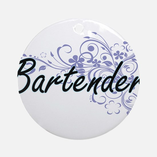 Bartender Artistic Job Design with Round Ornament