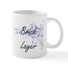 Brick Layer Artistic Job Design with Flowers Mugs