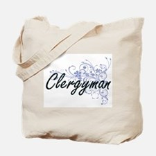 Clergyman Artistic Job Design with Flower Tote Bag