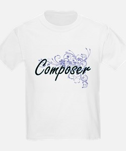 Composer Artistic Job Design with Flowers T-Shirt