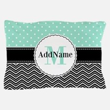 Black Teal Dots Chevron Monogram Pillow Case