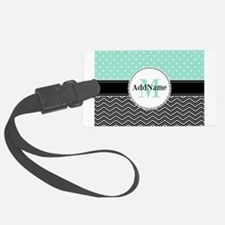 Black Teal Dots Chevron Monogram Luggage Tag