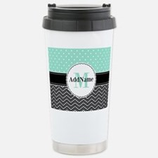 Black Teal Dots Chevron Travel Mug