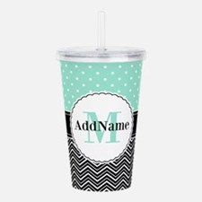 Black Teal Dots Chevro Acrylic Double-wall Tumbler