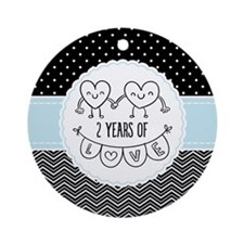 2nd Anniversary Gift For Her Round Ornament