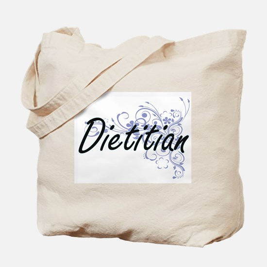 Dietitian Artistic Job Design with Flower Tote Bag