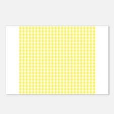 Yellow White Gingham Plaid Postcards (Package of 8