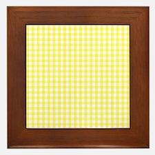 Yellow White Gingham Plaid Framed Tile