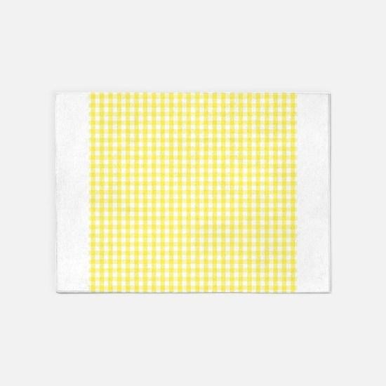 Yellow White Gingham Plaid 5'x7'Area Rug