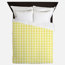 Yellow White Gingham Plaid Queen Duvet