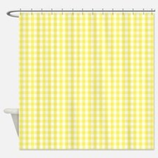 Yellow White Gingham Plaid Shower Curtain