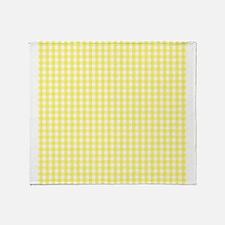 Yellow White Gingham Plaid Throw Blanket