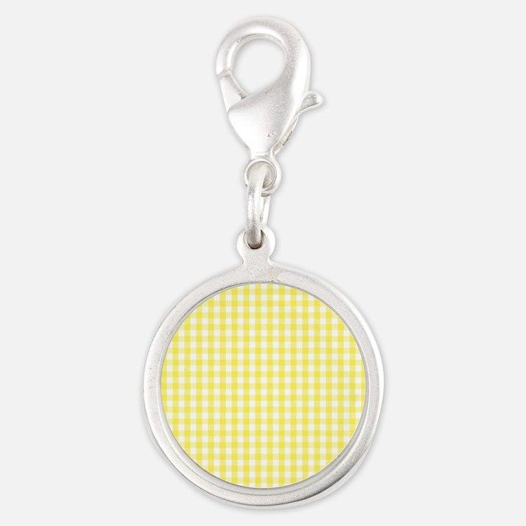 Yellow White Gingham Plaid Charms