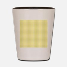 Yellow White Gingham Plaid Shot Glass