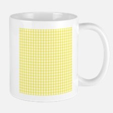 Yellow White Gingham Plaid Mugs