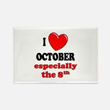 October 8th Rectangle Magnet
