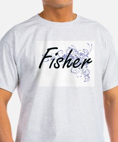 Fisher Artistic Job Design with Flowers T-Shirt