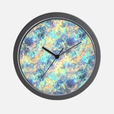 Bright Blue Mosaic Abstract Pattern Wall Clock