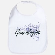 Genealogist Artistic Job Design with Flowers Bib