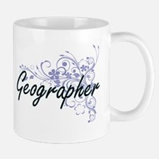 Geographer Artistic Job Design with Flowers Mugs