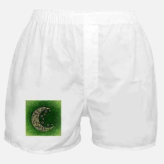 Crescent Moon (Green) Boxer Shorts