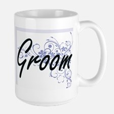 Groom Artistic Job Design with Flowers Mugs