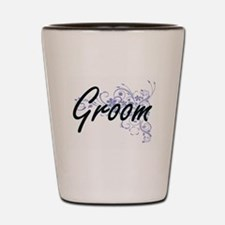 Groom Artistic Job Design with Flowers Shot Glass