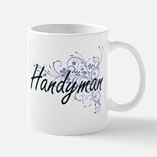 Handyman Artistic Job Design with Flowers Mugs
