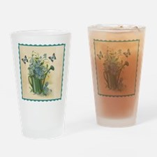 Vintage Water Can and Butterflies Drinking Glass