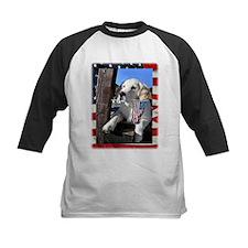 Patriotic Dog Holding Flag Baseball Jersey