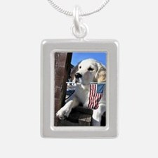 Patriotic Dog Holding Flag Necklaces