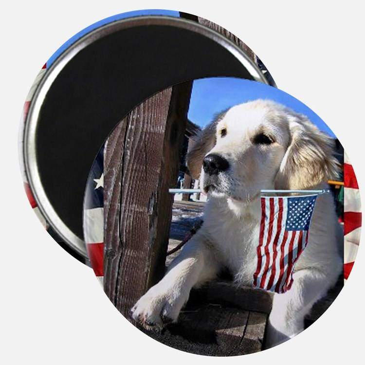Patriotic Dog Holding Flag Magnets