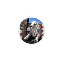 Patriotic Dog Holding Flag Mini Button