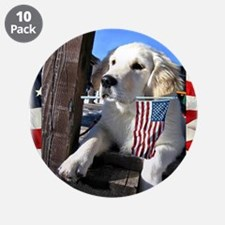 "Patriotic Dog Holding Flag 3.5"" Button (10 pack)"