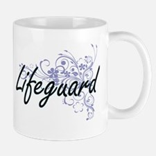 Lifeguard Artistic Job Design with Flowers Mugs