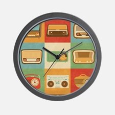Vintage Retro Radio Icons Wall Clock