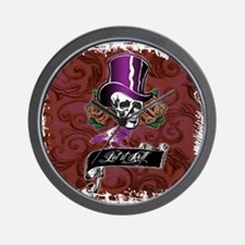 Vintage Skull in a Top Hat Wall Clock